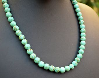 green turquoise necklace statement necklace turquoise necklace stone bohemian beaded necklace southwestern turquoise necklace boho chic neck