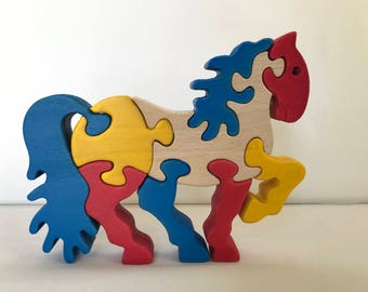 Handmade Montessori Educational 3D Puzzle Wooden Horse Toy