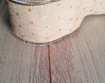 Linen Ribbon with gold wire trim