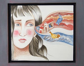 Dreaming the future - Original Watercolor Painting Artwork with wooden frame