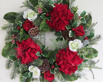 Christmas Hydrangea Wreath, Red and White Wreath, Holiday Wreath, Front Door Wreath, Holly Wreath, Magnolia Wreath
