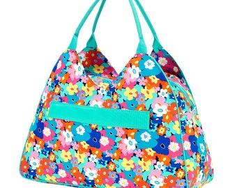 Monogram Floral Beach Bag | Floral Pool Bag | Monogram Pool Bag | Overnight Bag | Zipper Bag | Summer Bag | Wedding Gift | Vacation Bag