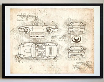 Car blueprint etsy mazda mx 5 miata 89 98 da vinci sketch mazda malvernweather Images