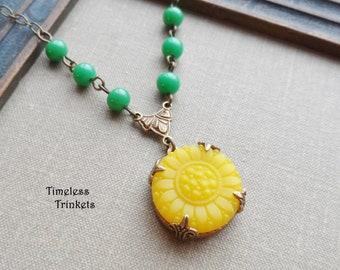 Vintage Glass Button Necklace, Sunflower, Yellow, Green, Vintage Glass Beads, Antique Brass