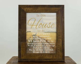 In This House We Do Deployment Marriage Family Military Gift Decor Framed Art Picture