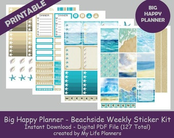 Beachside Planner Printable Stickers, Weekly Kit, Planner Kit, Printable  Stickers, BIG Happy Planner, Instant PDF Download