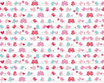 04821 - Riley Blake Lovey Dovey Cotton Flannel - in White - 1/2 yard