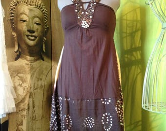 Bohemian tunic dress T 42 shades of Brown and vanilla, embroidered bodice