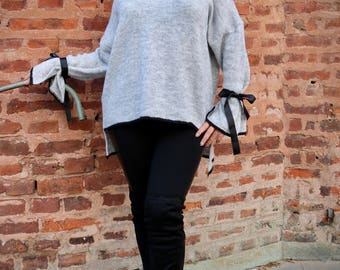 Oversized women's sweater, loose fit sweater, casual sweater, women's knitwear, oversized knitwear, grey sweater, plus size sweater, knitted