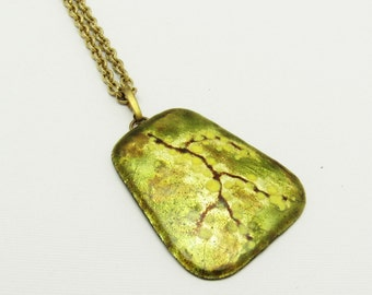 Vintage Enamel on Copper Pendant Abstract Spatter Jewelry