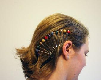 Rainbow Pearl Hair Pins, Prom Hair, Bridal hair pins, Bobby pins, Show Your Pride