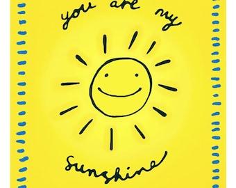 You are my sunshine - greeting card, blank inside - cutesy sunny yellow bright I love you cheerful