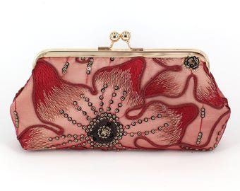 Lily Floral Lace Bridal Clutch in Burgundy and champagne | Bridesmaid, mother of the bride Clutch