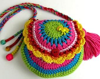 Little Girls Bag, Rainbow Bag, Rainbow Purse, Boho Bag, crochet shoulder bag, crochet rainbow purse, Girls gift idea
