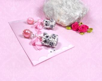 Earrings wolf in sheep's clothing handmade kawaii wolf Polymer Clay ear studs