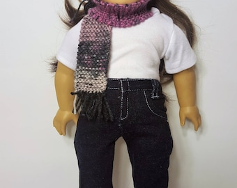 """Purple/Gray Knit Doll Hat and Scarf - Hand-made to fit like American Girl Doll Clothes - 18"""" Doll Clothes - Knit Doll Clothes"""