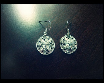 Silver Circles w/Diamante Earrings