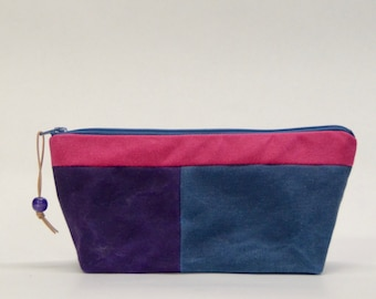 Multicolor Patchwark Waxed Canvas Zipper Pouch #1 Gadget Case Cosmetics Bag - READY TO SHIP