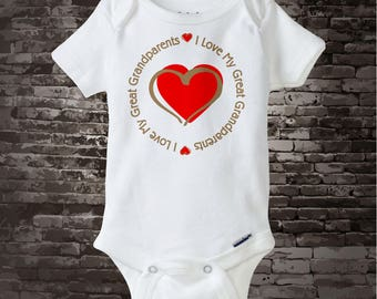 Personalized Unisex I Love My Great Grandparents with Red Heart Tee Shirt or Onesie 11272013e
