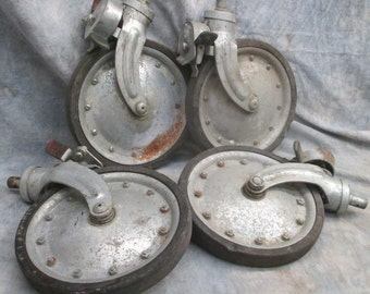 4 Rubber Rimmed Metal Rolling Swivel Wheels Industrial Machine Age Vintage a