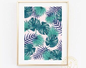 Palm Leaf Art Print, Palm Print Art, Art Print, Digital Art, Digital Print, Tropical Art Print, Tropical Print, Palm Leaf Art, Girly Art,