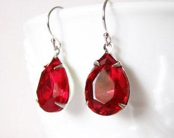SALE Ruby Red Dangle Earrings Glass Drop Earrings Handmade Jewelry Sterling Silver