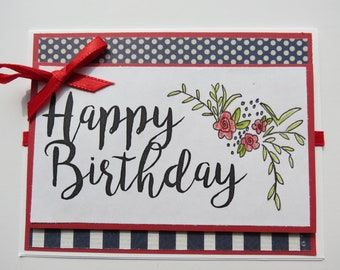 Girl Floral Birthday Card--1 Card--The Vintage Touch--Birthday Cards for Girls