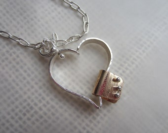 Mended Heart, Sterling Heart, Silver and Gold Heart