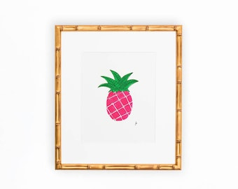 Good Fortune Pink and Green Pineapple Art Print of Original Painting 8x10""