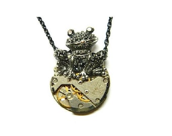 The happy Frog, antique silver Steampunk jewellery good luck necklace, old clockwork, black chain, cube, unique surprise, mens birthday gift