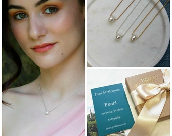 Tiny pearl necklace, single pearl necklace, dainty pearl necklace bridesmaid, June birthstone, pearl jewelry - Natalie