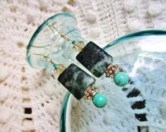 Green jasper earrings, Green jasper turquoise silver gray glass dangle earrings