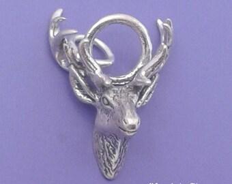 ELK or Deer Stag Head With ANTLERS Charm .925 Sterling Silver Pendant - lp1677