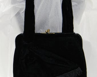 Black Velvet Evening Bag Signed BOBBIE JEROME FRINGE Rhinestone Closure Handbag 50's Purse Mid Century Clutch Handle Vintage