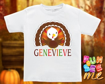 Thanksgiving Turkey - Personalized with Name - Tee / Boys / Girls / Infant / Toddler / Youth sizes