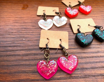 Sparkly Resin Heart Shaped Dangle + Drop Earrings, Assorted Colors