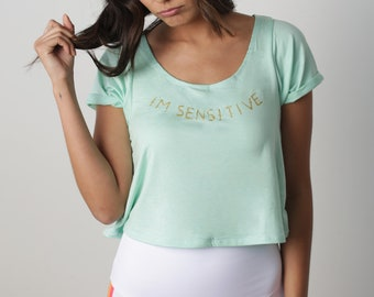 yoga crop top, yoga shirt, loose yoga top, loose yoga shirt, coral tshirt, coral shirt, yoga tshirt, i'm sensitive jewel, yoga clothes