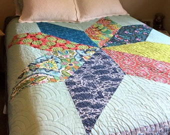 Modern Bohemian Style Queen Size Fully Reversible Big Star Bed Quilt Amy Butler Cameo Fabrics CUSTOM QUILT Aqua Blue with Trees  Flowers