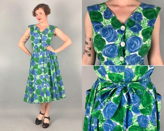 Vintage 1940s Dress | 40s Spring White Cotton Green & Blue Floral Rose Print Button Up Day Dress with Full Circle Skirt and Pockets! | Large