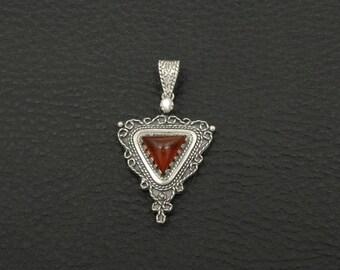Natural Carnelian Pendant Byzantine Style 925 Sterling Silver Greek Handmade Art Luxury
