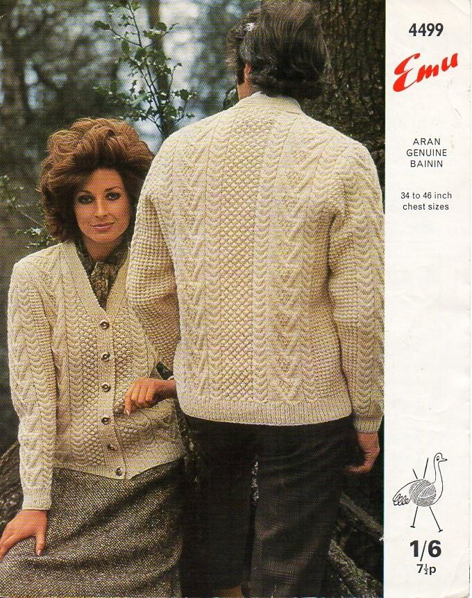 womens mens aran cardigan knitting pattern PDF download ladies