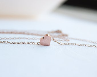 Rose Gold Heart Necklace, Puffy Heart Charm, Charm Necklace, Gift Ideas For Her, Bridesmaid Gifts, PD