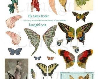 Vintage BUTTERFLY WINGS digital collage sheet Fly Away Home, Butterflies Fairy girls, altered art fairies wings, printable ephemera DOWNLOAD