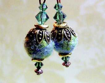 LAST PAIR - Sparkly Earth Day Earrings with Swarovski & Felted Beads - Needle Felted and Beaded Fiber Art Earrings - Unique Boho Jewelry