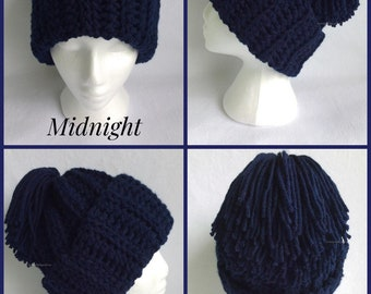 Midnight Blue Chunky Crochet Hat