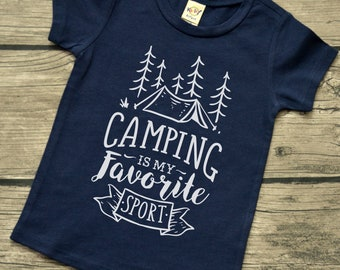 Camping Is My Favorite Sport - Baby boys or Baby Girls  Infants Camping Vinyl Graphic Tee Shirt Multiple Colors Sizes 6-24 months