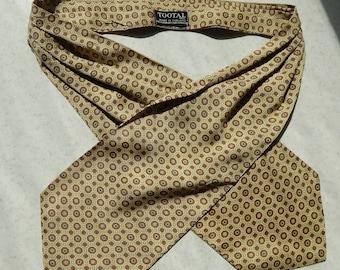 Tootal Silk Yellow Cravat Geometric Print