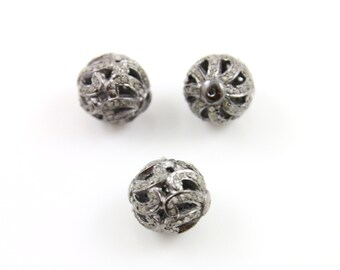 Pave Beads, Pave Diamond Beads, Pave Round Beads, Diamond Beads, Metal Beads, Pave Round, Pave Findings, Oxidized Silver. (DF/BD226)