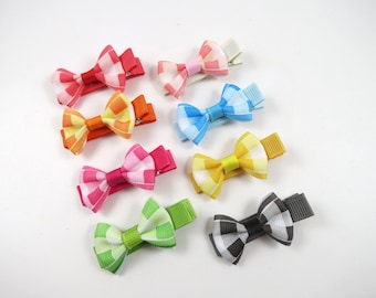 Small Hair Bows - Hair Clip Set - Pink Blue Green Orange Yellow Black Red Hair Bows - Mini Hair Bow Set - Hair Bow Gift Set - Hair Bows