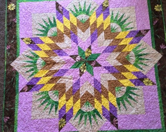 """Feathered Star Wallhanging Quilt, 56"""" Square, a Judy Neimeyer Pattern"""